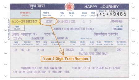 Train Number on Indian Railway Ticket